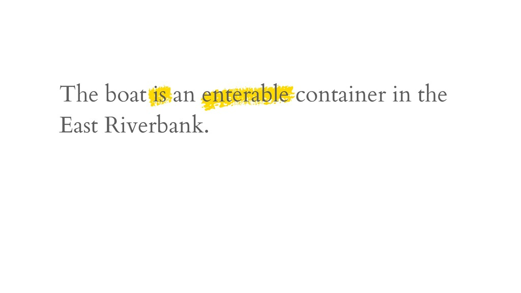 The boat is an enterable container in the East ...