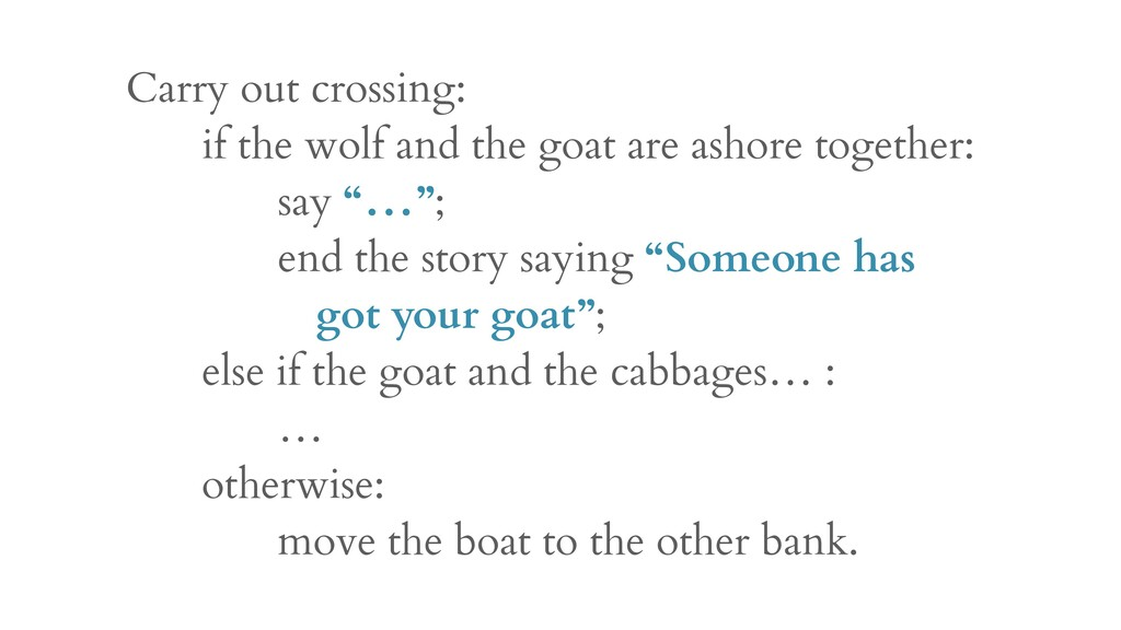 Carry out crossing: if the wolf and the goat ar...