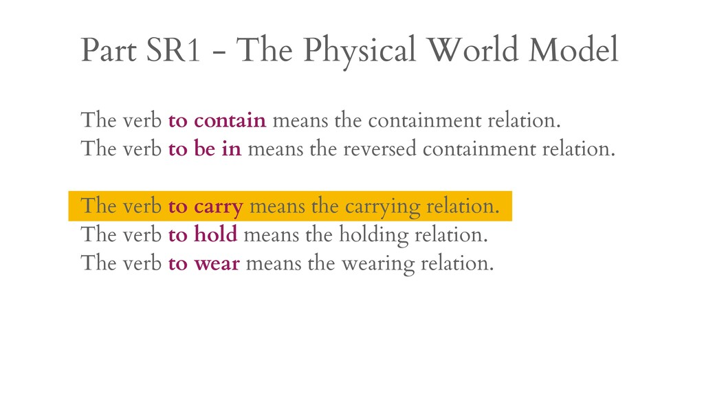Part SR1 - The Physical World Model The verb to...