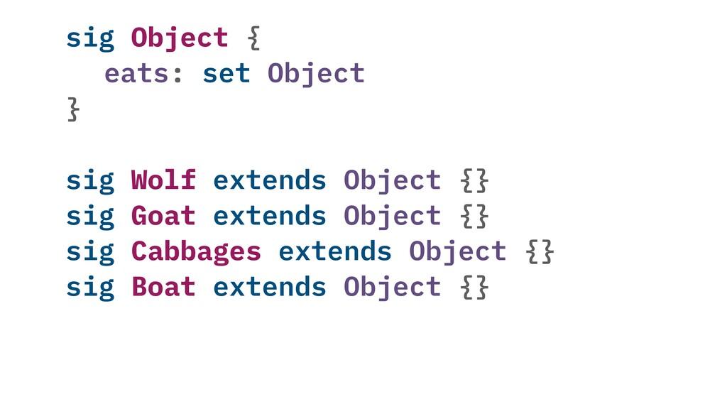 sig Object { eats: set Object } sig Wolf extend...