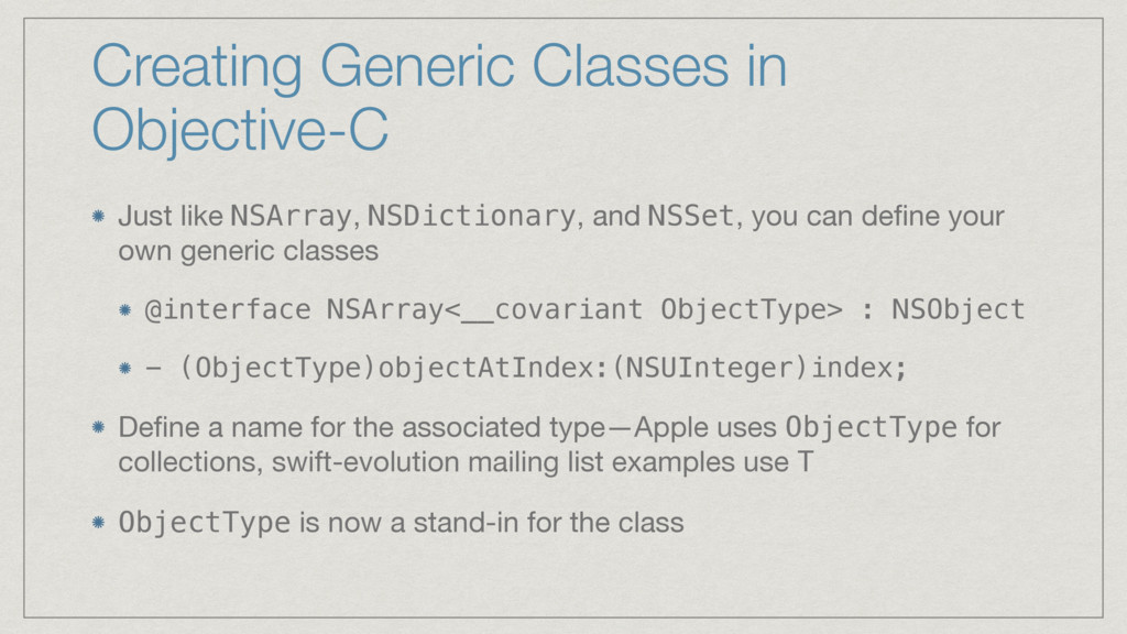 Creating Generic Classes in Objective-C Just li...