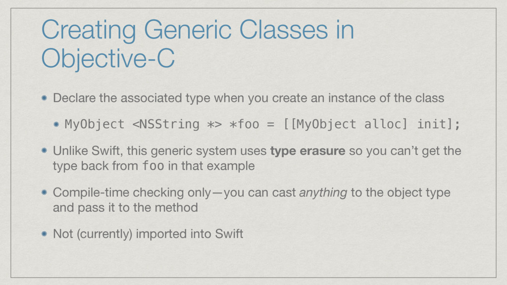 Creating Generic Classes in Objective-C Declare...