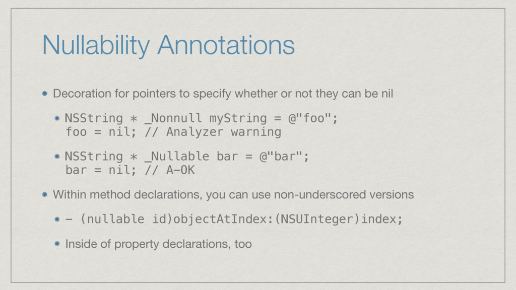 Nullability Annotations Decoration for pointers...