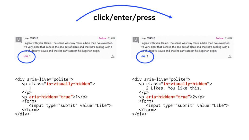 """click/enter/press <div aria-live=""""polite""""> <p c..."""