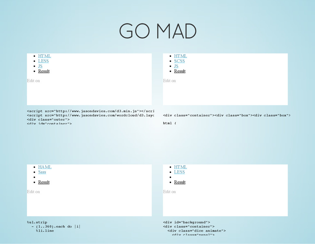 GO MAD HTML LESS JS Result Edit on < s c r i p ...