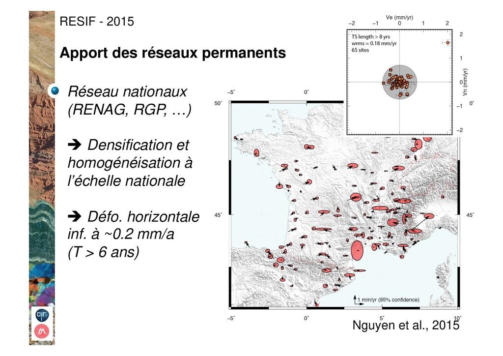 RESIF - 2015 Réseau nationaux (RENAG, RGP, …) !...