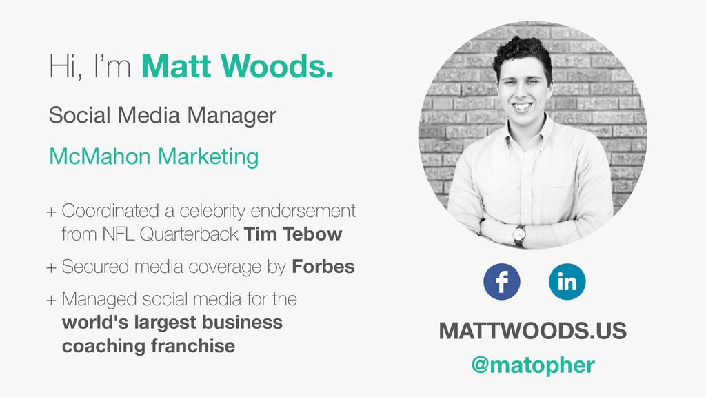 Hi, I'm Matt Woods. Social Media Manager