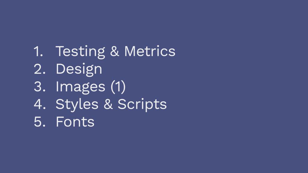 1. Testing & Metrics 2. Design 3. Images (1) 4....