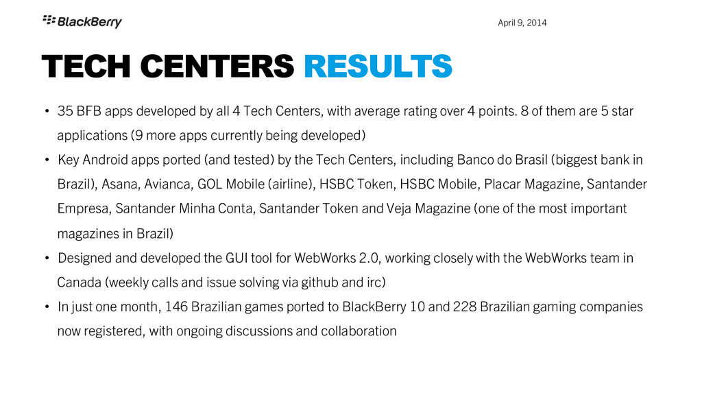 April 9, 2014 TECH CENTERS RESULTS • 35 BFB a...