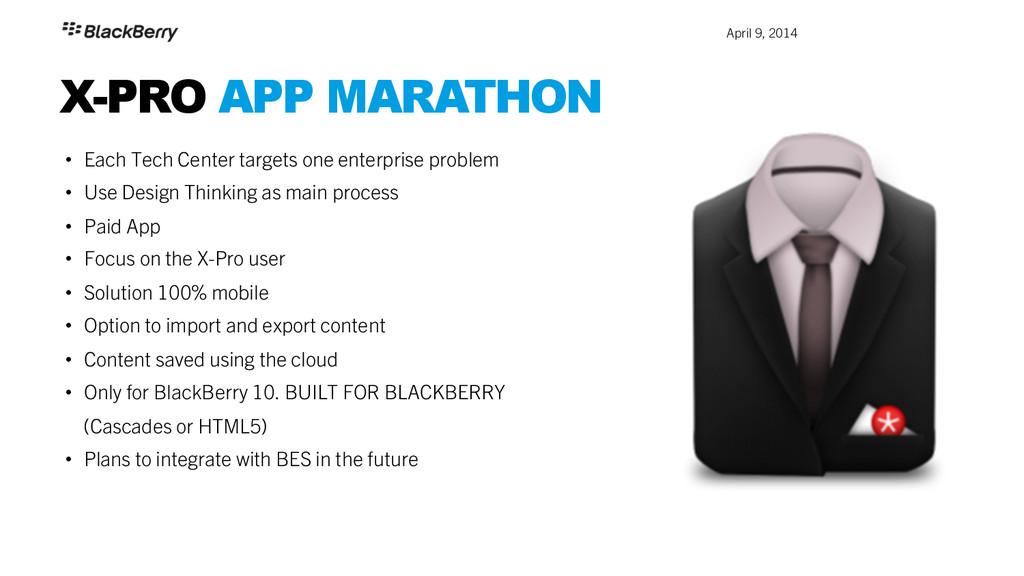 April 9, 2014 X-PRO APP MARATHON • Each Tech ...