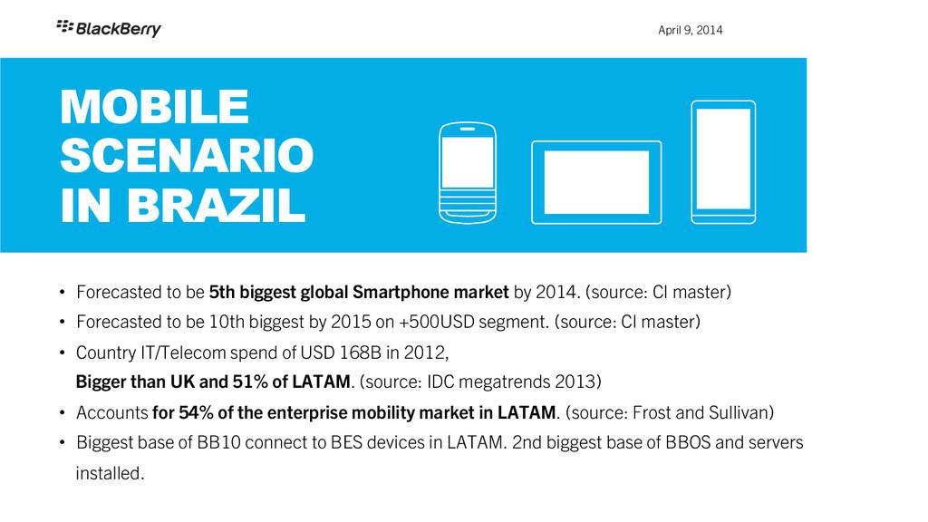 April 9, 2014 MOBILE SCENARIO IN BRAZIL • For...