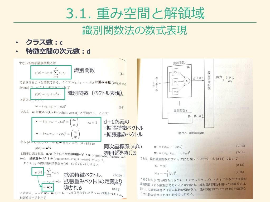 3.1. 重み空間と解領域 識別関数法の数式表現 • クラス数︓c • 特徴空間の次元数︓d ...