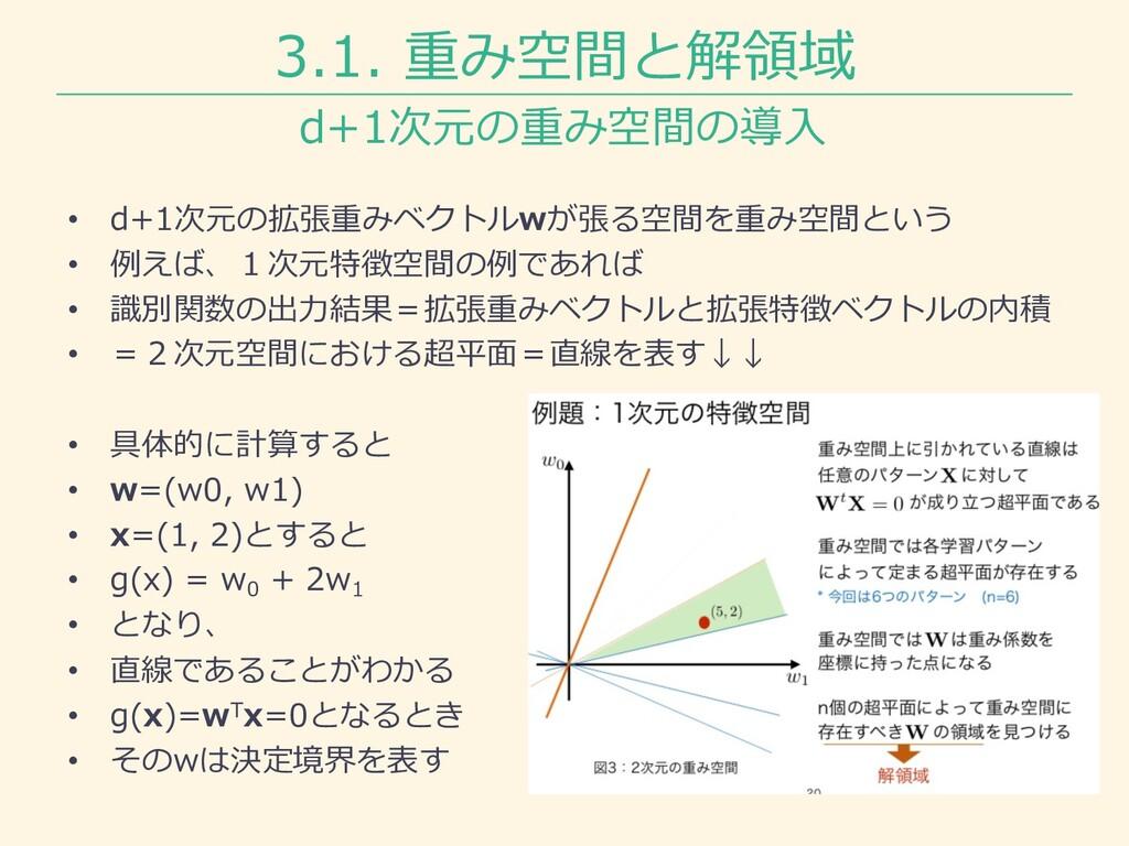 3.1. 重み空間と解領域 • d+1次元の拡張重みベクトルwが張る空間を重み空間という • ...
