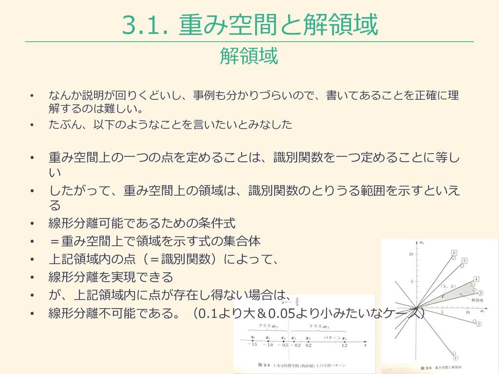 3.1. 重み空間と解領域 解領域 • なんか説明が回りくどいし、事例も分かりづらいので、書い...