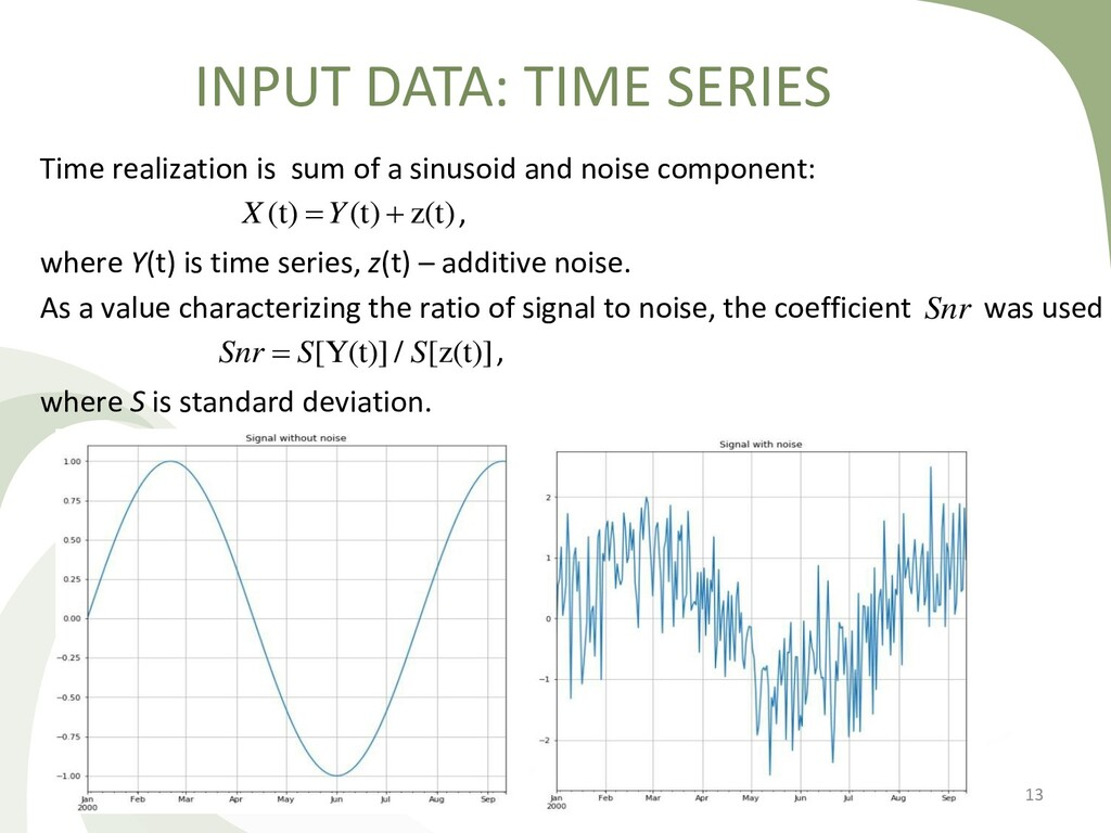 INPUT DATA: TIME SERIES 13 Time realization is ...