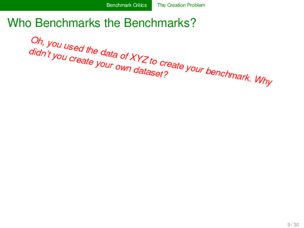 Benchmark Critics The Creation Problem Who Benc...