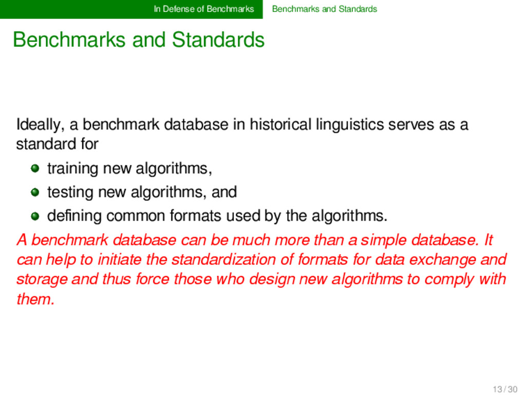 In Defense of Benchmarks Benchmarks and Standar...