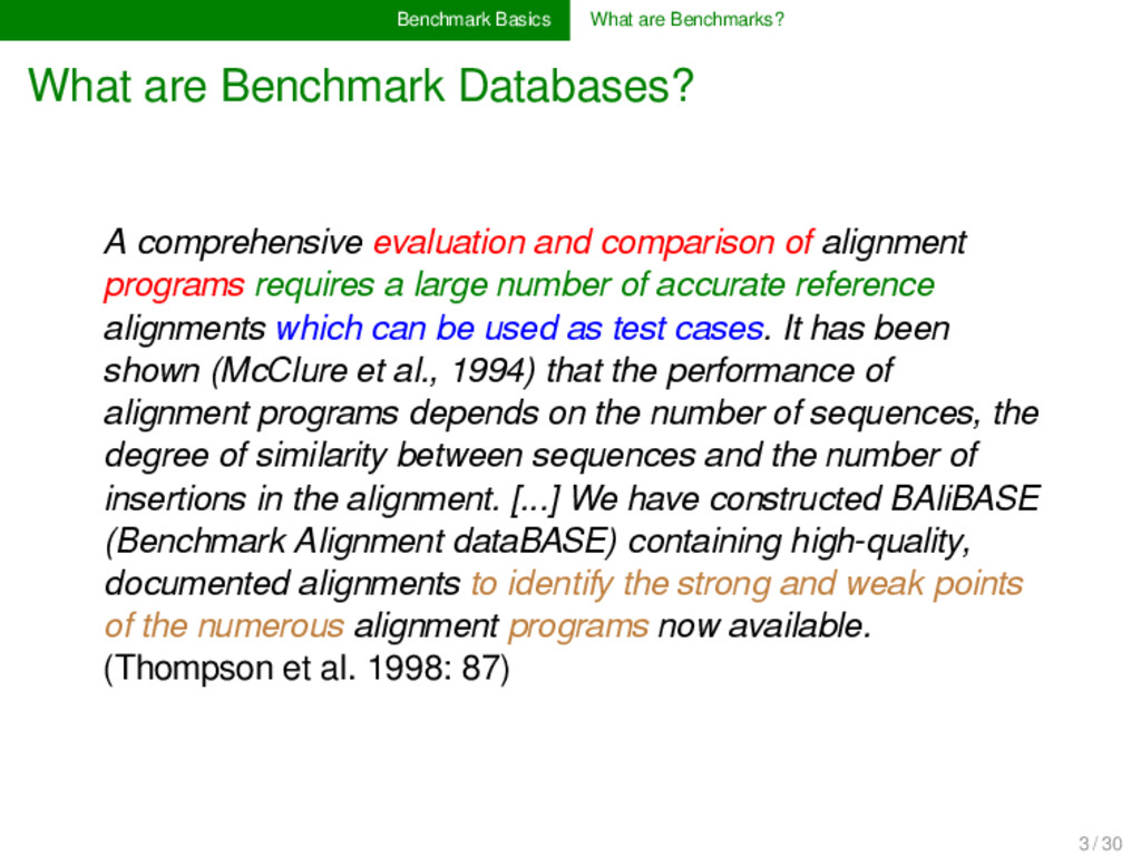 Benchmark Basics What are Benchmarks? What are ...