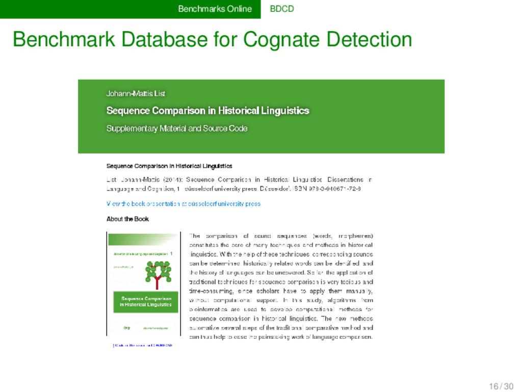 Benchmarks Online BDCD Benchmark Database for C...