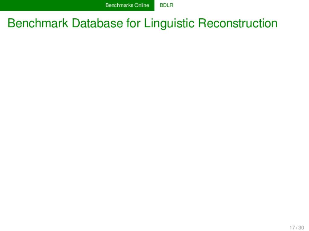 Benchmarks Online BDLR Benchmark Database for L...