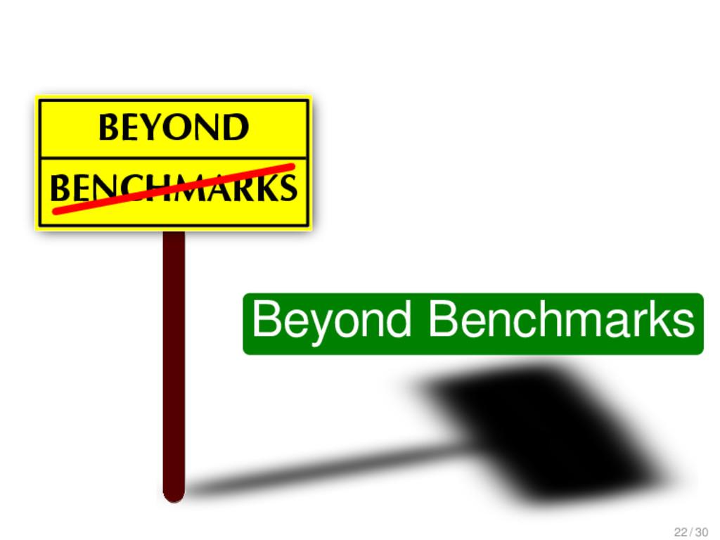 BENCHMARKS BEYOND Beyond Benchmarks 22 / 30