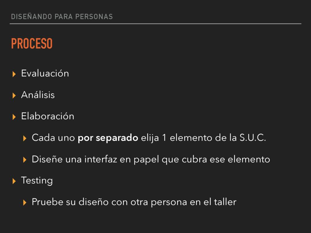 DISEÑANDO PARA PERSONAS PROCESO ▸ Evaluación ▸ ...