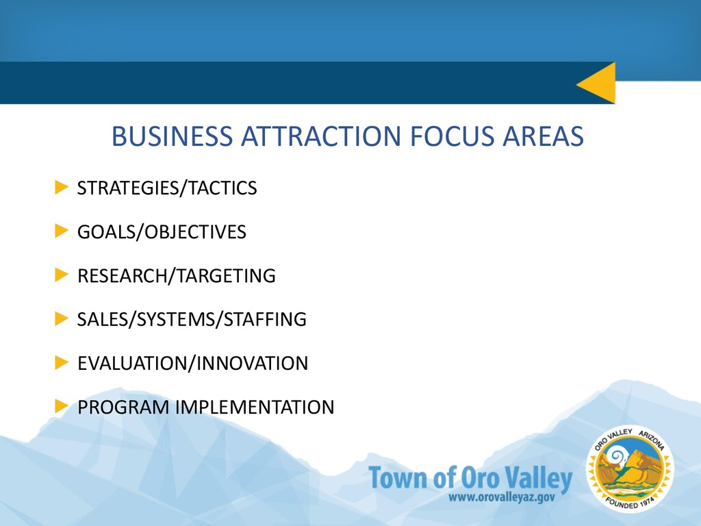 BUSINESS ATTRACTION FOCUS AREAS STRATEGIES/TACT...