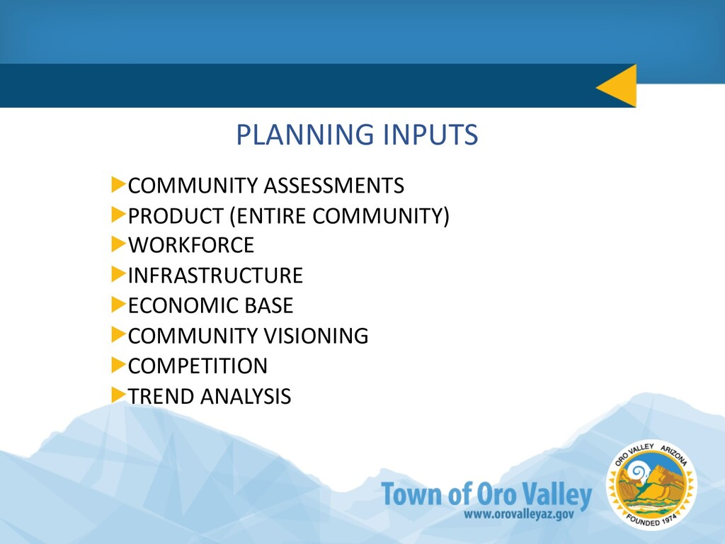 PLANNING INPUTS COMMUNITY ASSESSMENTS PRODUCT (...