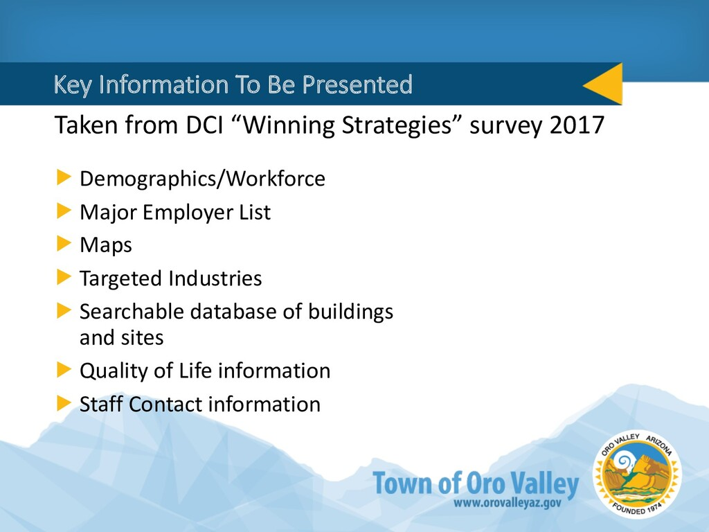 Key Information To Be Presented Taken from DCI ...