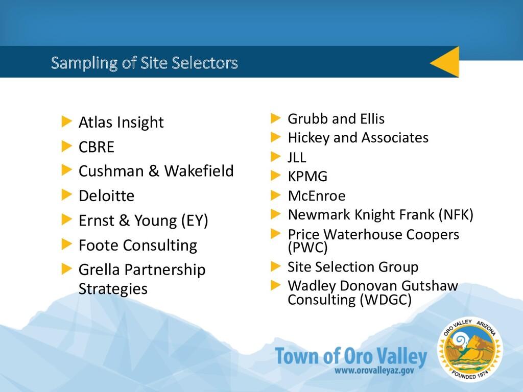 Sampling of Site Selectors Atlas Insight CBRE C...