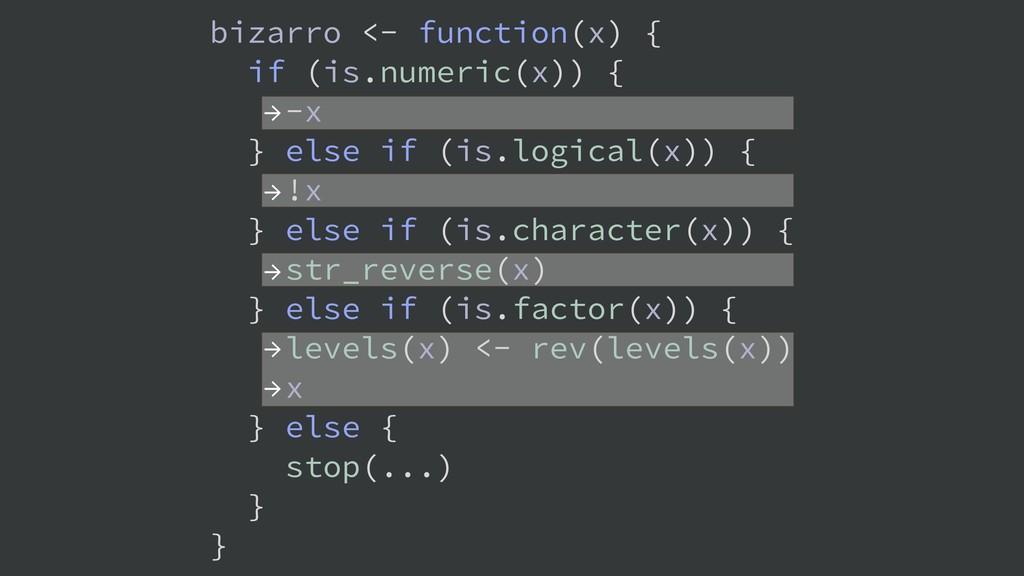 → → → → → bizarro <- function(x) { if (is.numer...