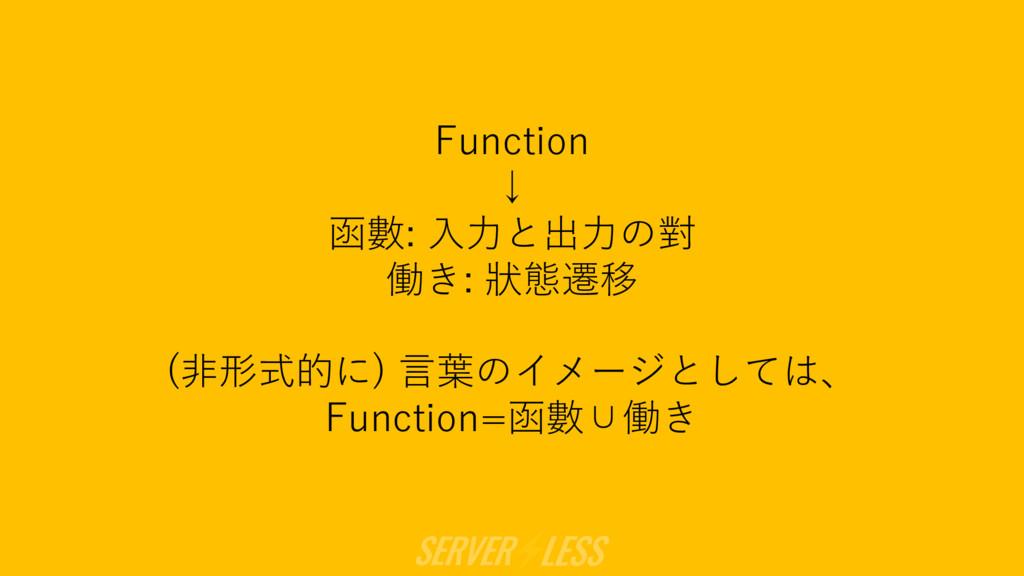 Function ↓ 函數: ⼊⼒と出⼒の對 働き: 狀態遷移 (⾮形式的に) ⾔葉のイメージ...