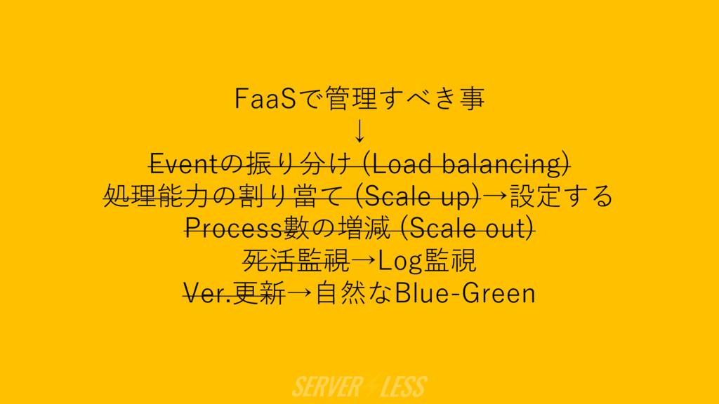 FaaSで管理すべき事 ↓ Eventの振り分け (Load balancing) 処理能⼒の...