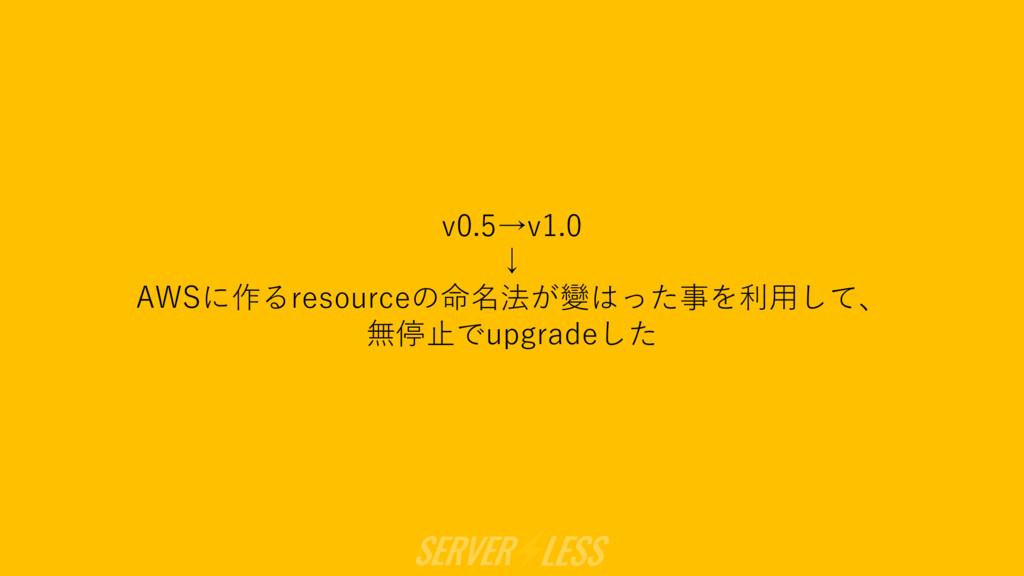 v0.5→v1.0 ↓ AWSに作るresourceの命名法が變はった事を利⽤して、 無停⽌で...