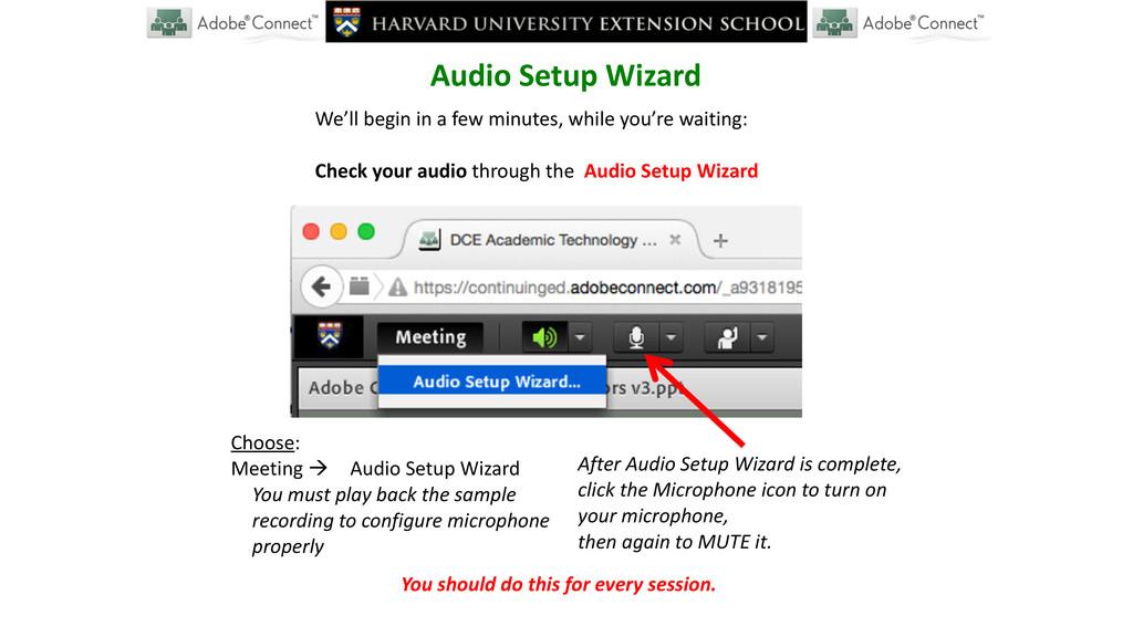 Audio Setup Wizard We'll begin in...