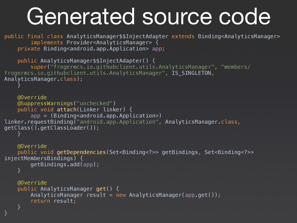 Generated source code public final class Analyt...