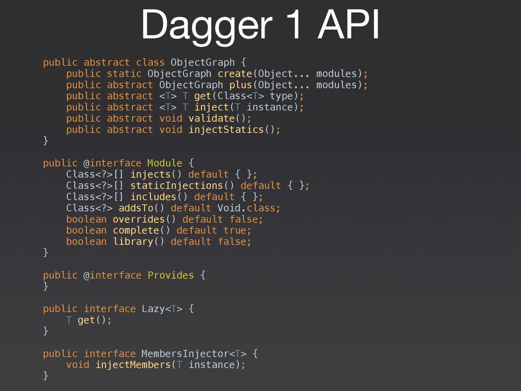Dagger 1 API public abstract class ObjectGraph ...