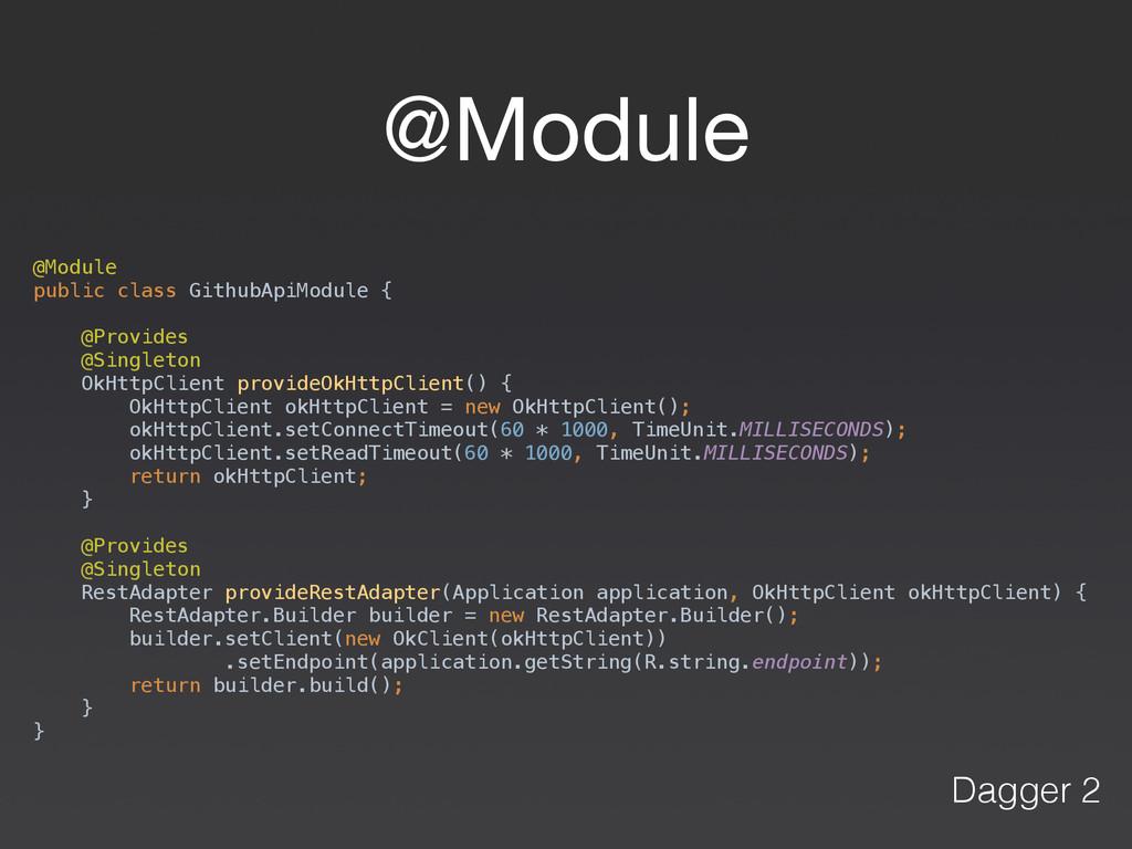 @Module @Module public class GithubApiModule {...