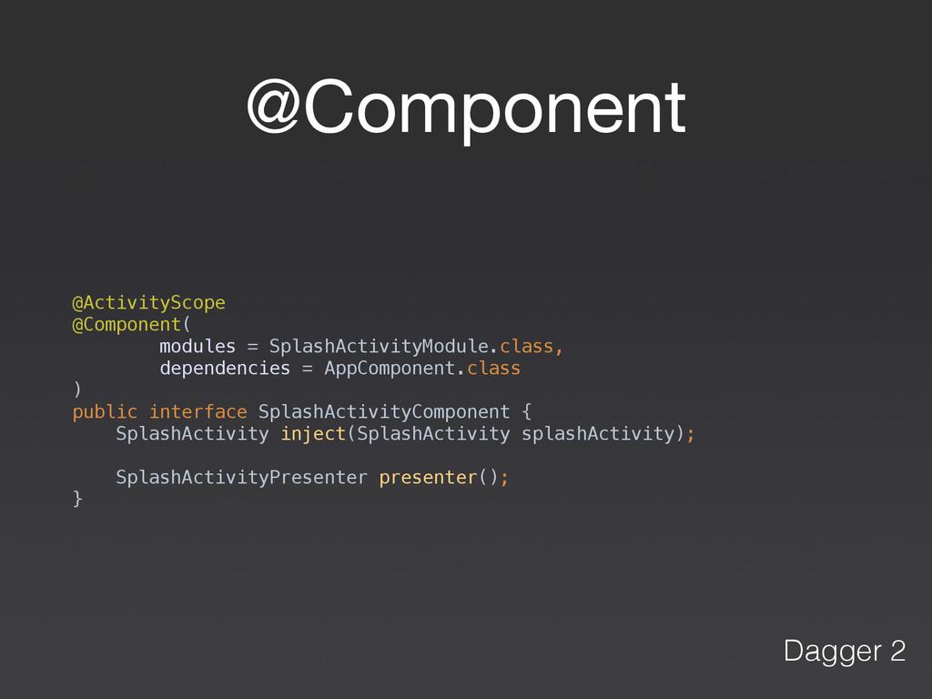 @Component @ActivityScope @Component( modules...