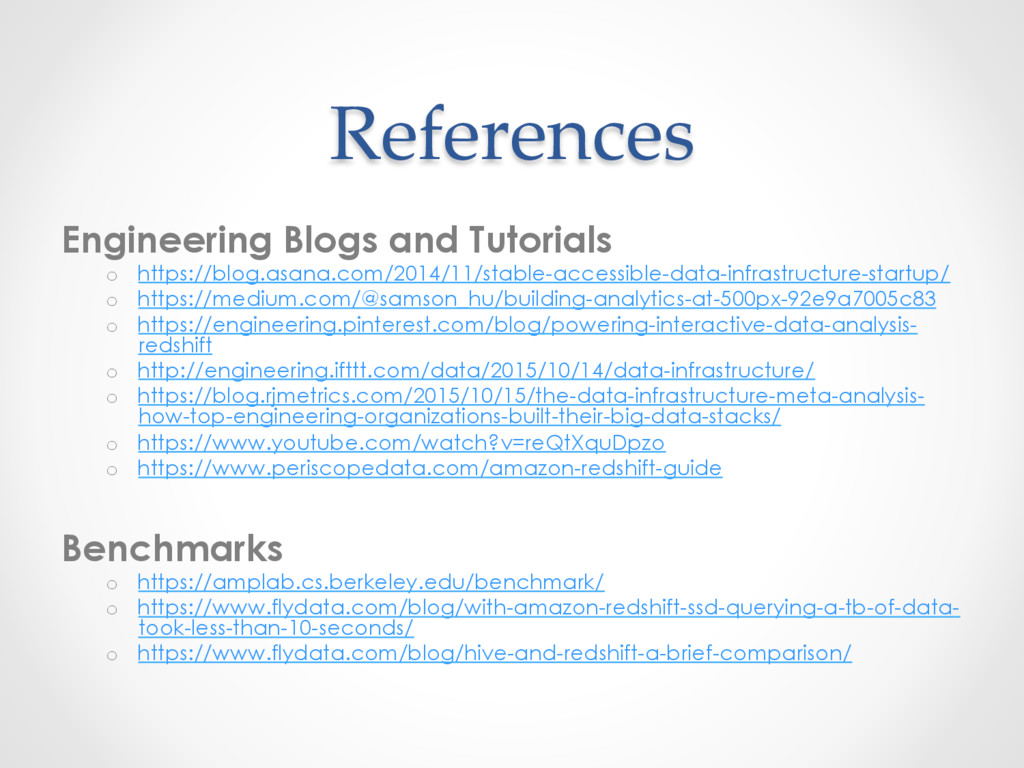 References Engineering Blogs and Tutorials o  h...