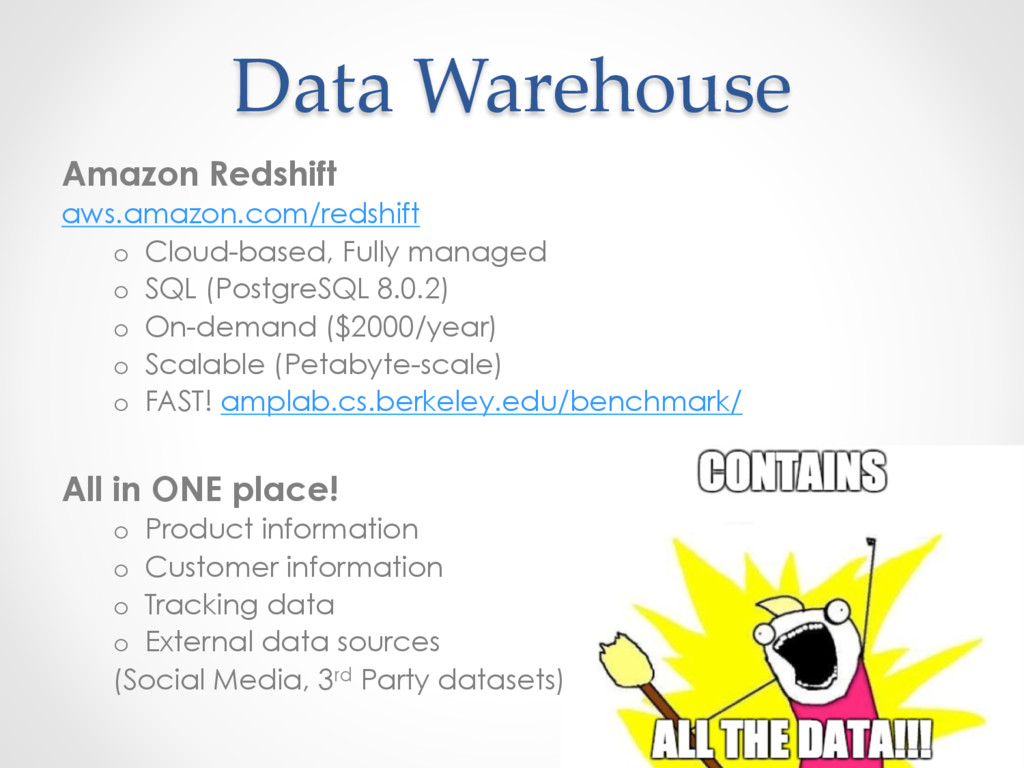 Data Warehouse Amazon Redshift aws.amazon.com/r...