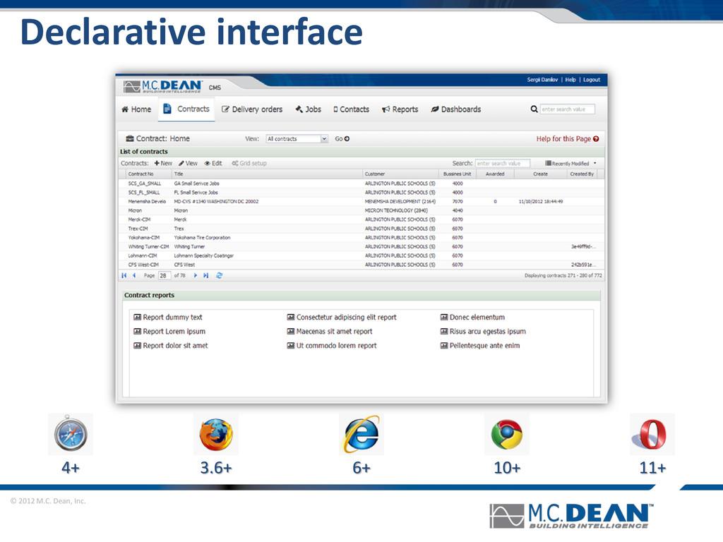 © 2012 M.C. Dean, Inc. Declarative interface 4+...