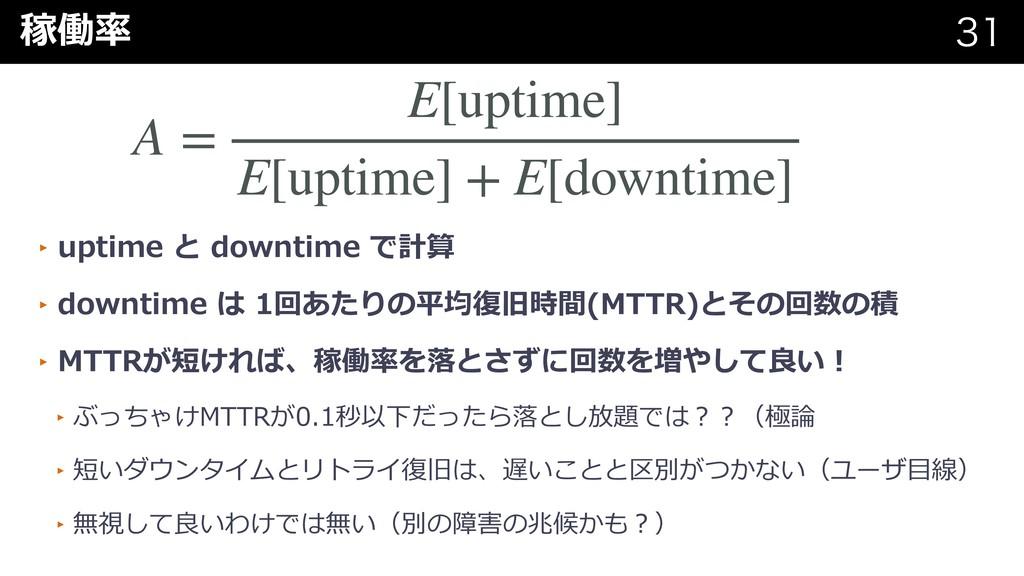 稼働率   A = E[uptime] E[uptime] + E[downtime] ...