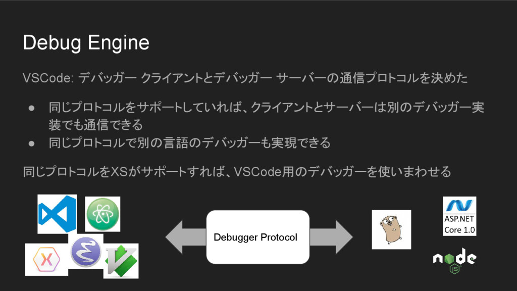 Debug Engine VSCode: デバッガー クライアントとデバッガー サーバーの通信...