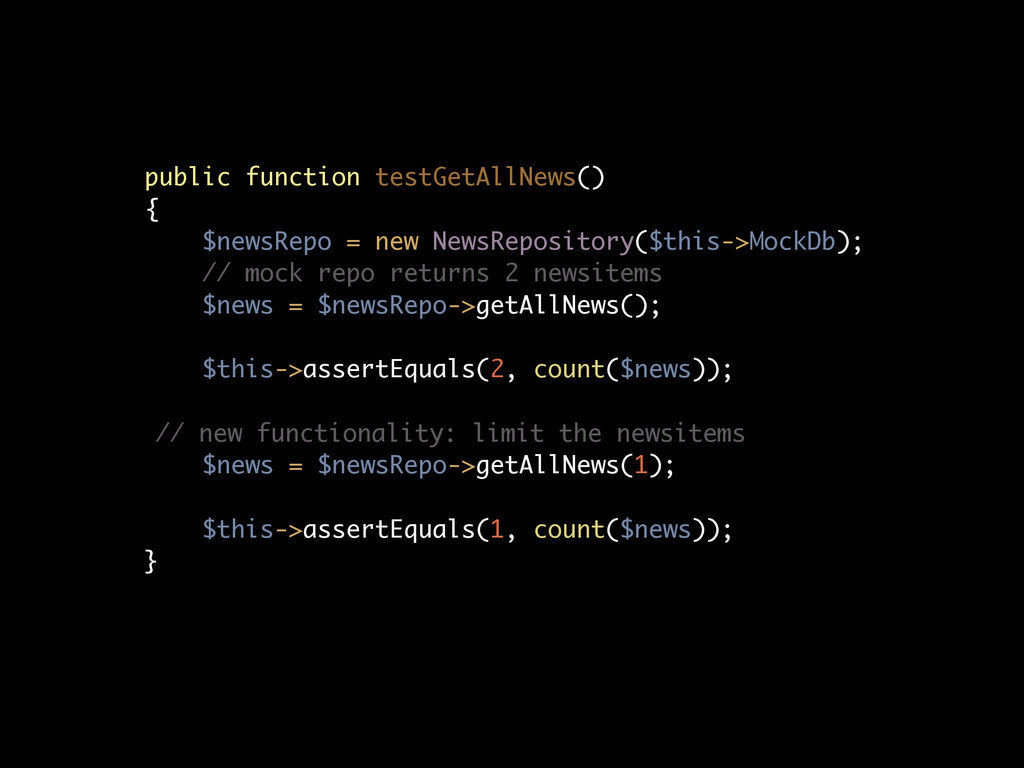 public function testGetAllNews() { $newsRepo = ...