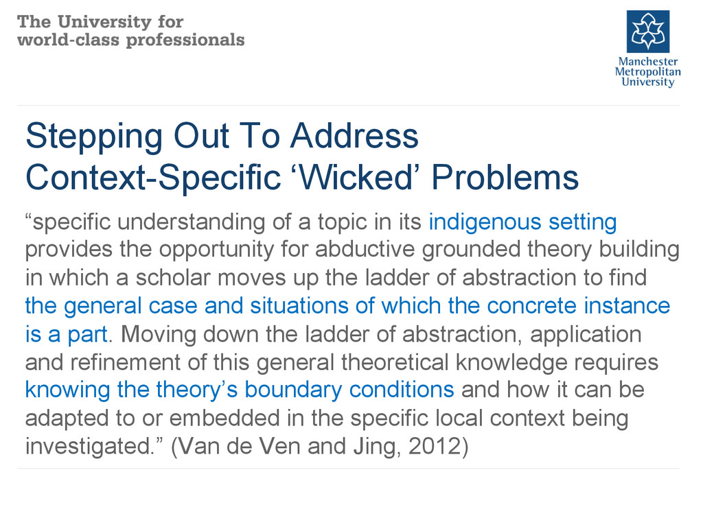 Stepping Out To Address Context-Specific 'Wicke...