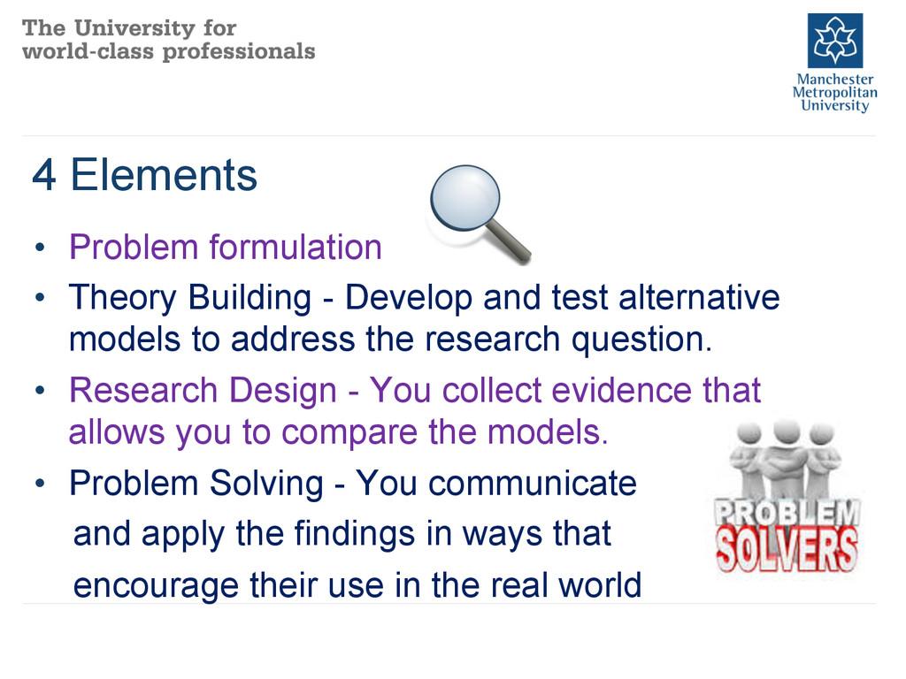 4 Elements • Problem formulation • Theory Bui...