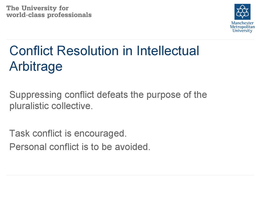 Conflict Resolution in Intellectual Arbitrage S...