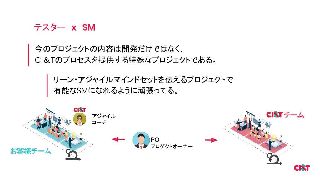 テスター x SM 今のプロジェクトの内容は開発だけではなく、 CI&Tのプロセスを提供する特...