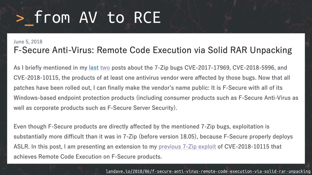 >_from AV to RCE landave.io/2018/06/f-secure-an...